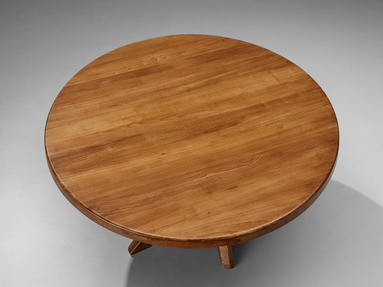 Mid-Century Modern Pierre Chapo Dining Table Model 'T21D' in Solid Elm For Sale