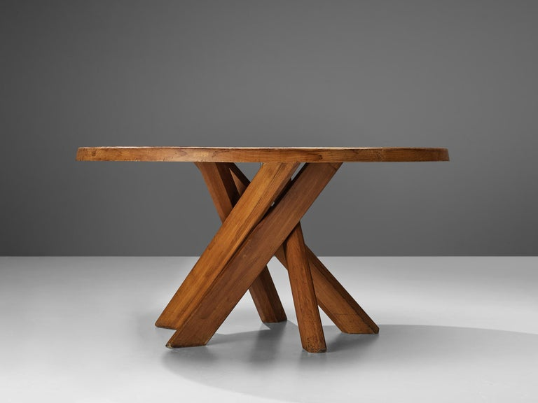 French Pierre Chapo Dining Table Model 'T21D' in Solid Elm For Sale