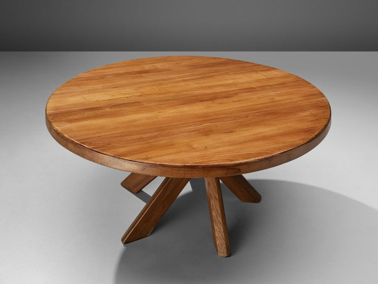 Mid-20th Century Pierre Chapo Dining Table Model 'T21D' in Solid Elm For Sale