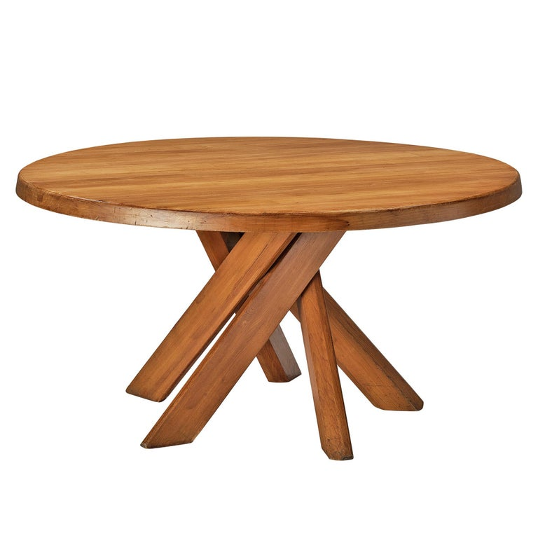 Pierre Chapo Dining Table Model 'T21D' in Solid Elm For Sale