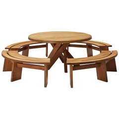 Pierre Chapo Dining Table 'T21' with Benches 'S38A' in Solid Elm