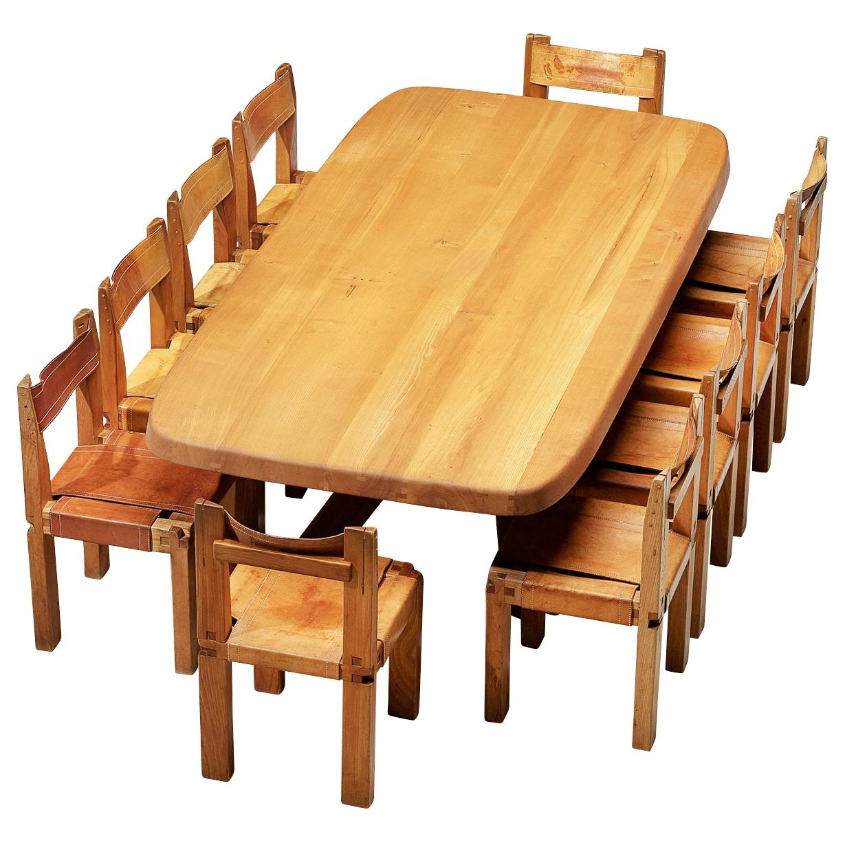 Pierre Chapo Dining Table T35D and S11 Chairs Dining Chairs