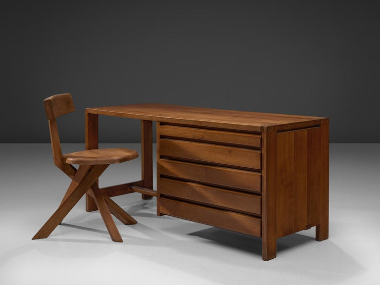 Pierre Chapo, dressing table R05, elm, circa 1960  This exquisitely crafted table with drawers combines a simplified yet complex design combined with nifty, solid construction details that characterize Chapo's work. The dressing table has seven