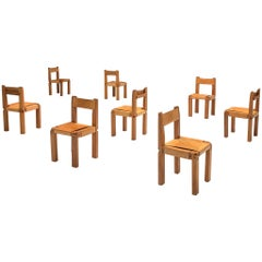 Pierre Chapo Eight Dining Chairs in Solid Elm and Cognac Leather