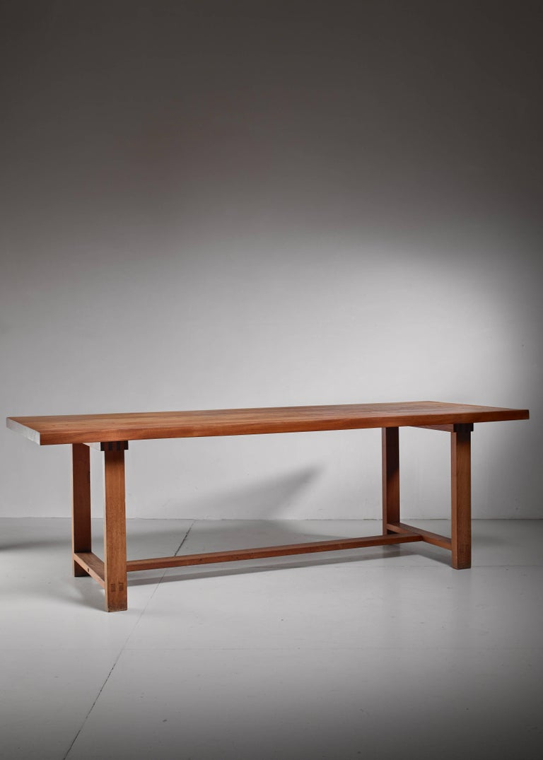Mid-Century Modern Pierre Chapo Elm Dining Table, France For Sale