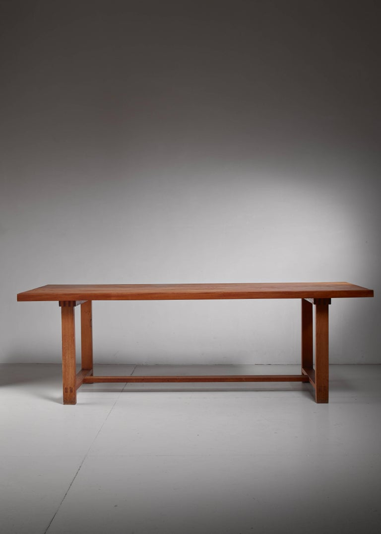 French Pierre Chapo Elm Dining Table, France For Sale
