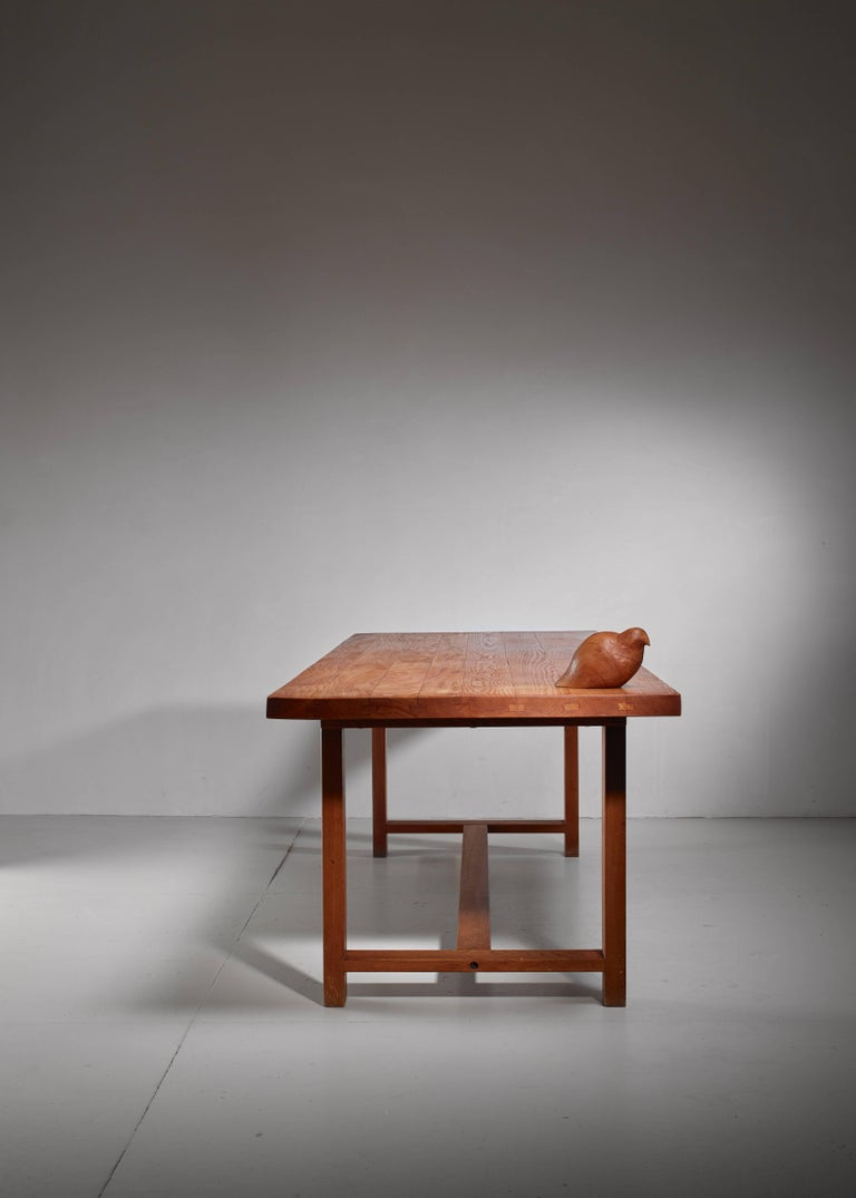 Mid-20th Century Pierre Chapo Elm Dining Table, France For Sale