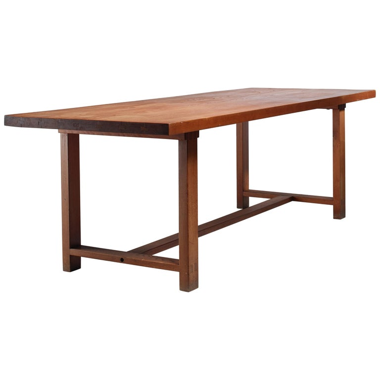 Pierre Chapo Elm Dining Table, France For Sale