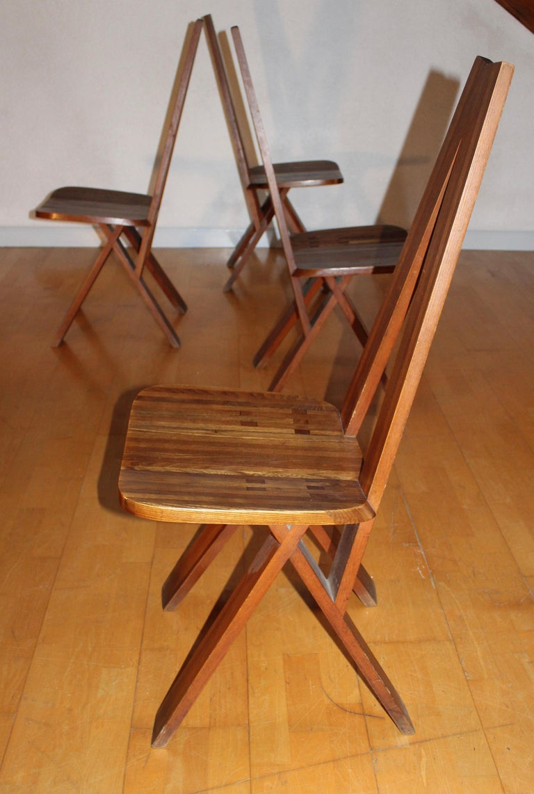 Pierre Chapo Four Original S45 Chairs Elmwood In Good Condition For Sale In Grenoble, FR