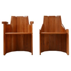 Pierre Chapo French Elm Mid-Century Style Armchairs