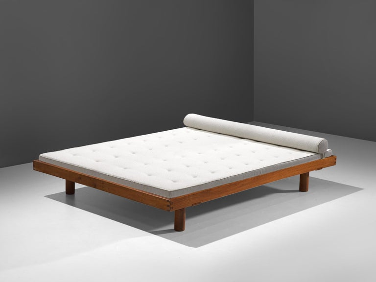 """Pierre Chapo, """"Godot"""" L01I daybed, elm and fabric, France, 1965  The L01 bed by Pierre Chapo is characterized for its taut, sober design with simple lines and the box joints at the corners of the frame. Chapo designed this daybed in 1959 for the"""
