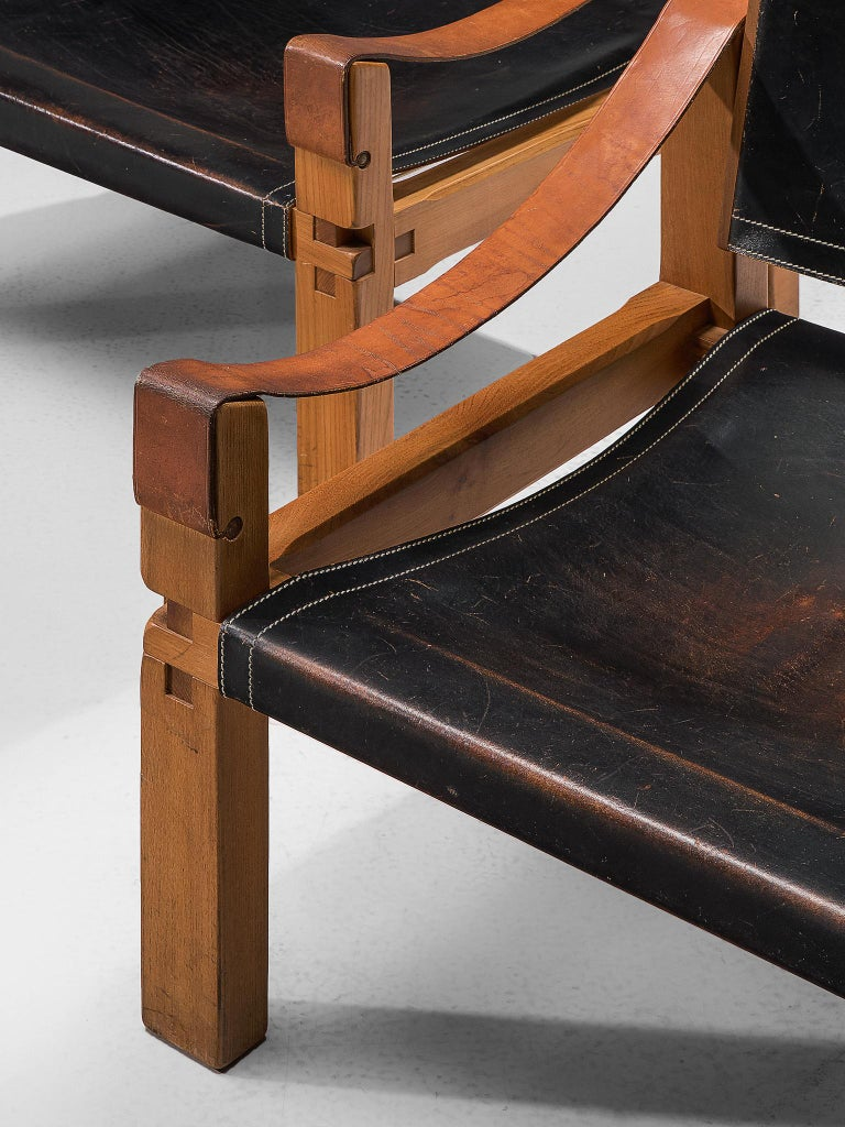 Pierre Chapo Grand Patinated Black Leather Elm Chairs S10X, circa 1964 4