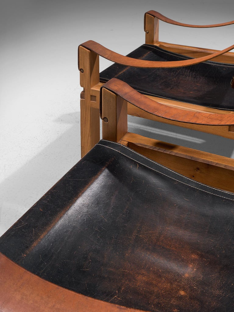 Pierre Chapo Grand Patinated Black Leather Elm Chairs S10X, circa 1964 5
