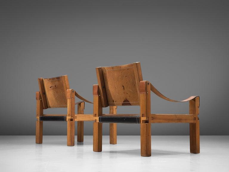 Mid-Century Modern Pierre Chapo Grand Patinated Black Leather Elm Chairs S10X, circa 1964