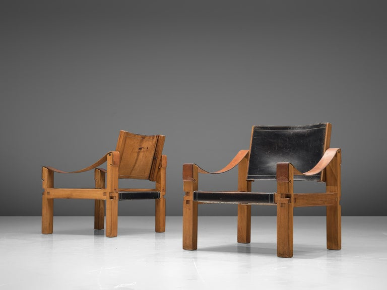 French Pierre Chapo Grand Patinated Black Leather Elm Chairs S10X, circa 1964
