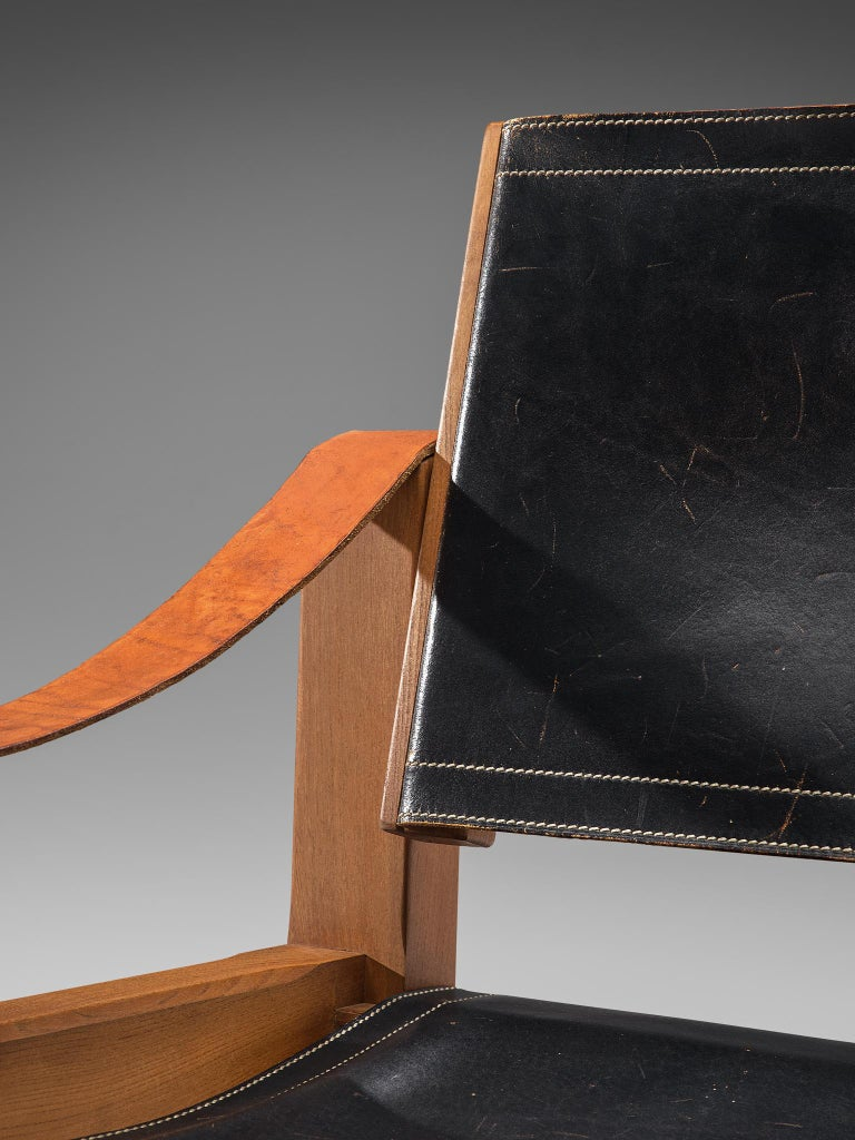 Pierre Chapo Grand Patinated Black Leather Elm Chairs S10X, circa 1964 1