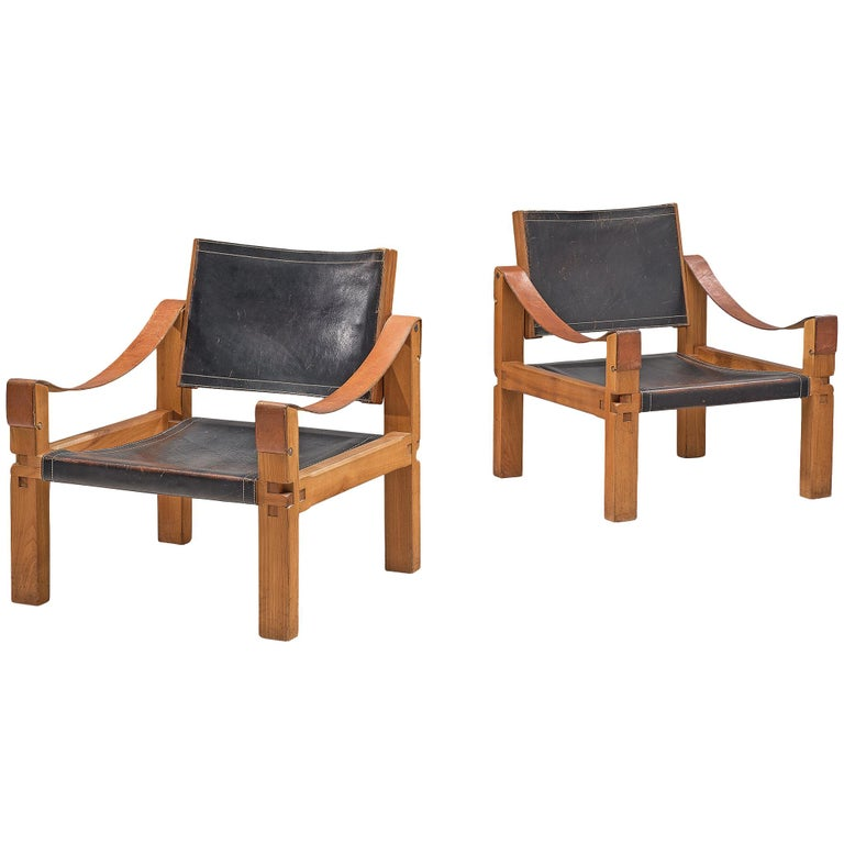 Pierre Chapo Grand Patinated Black Leather Elm Chairs S10X, circa 1964
