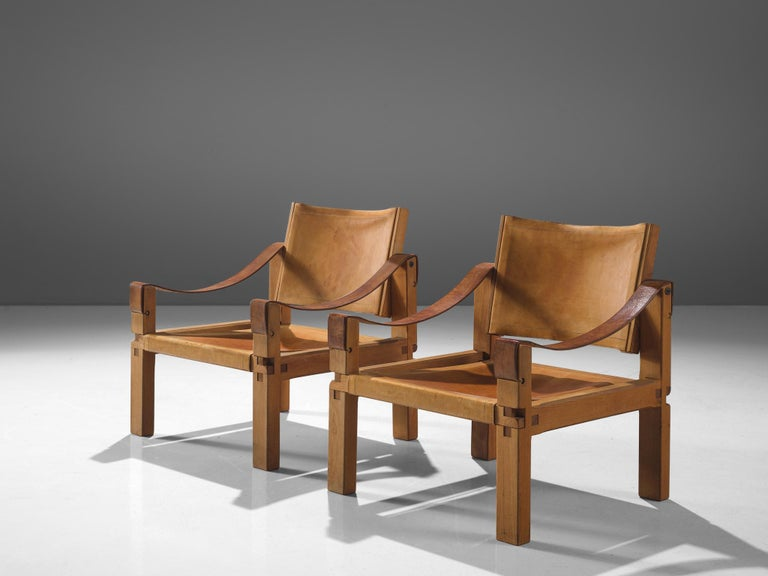 Mid-Century Modern Pierre Chapo Grand Patinated Cognac Leather Elm Chairs S10X, circa 1964