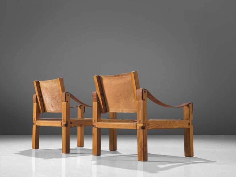 French Pierre Chapo Grand Patinated Cognac Leather Elm Chairs S10X, circa 1964