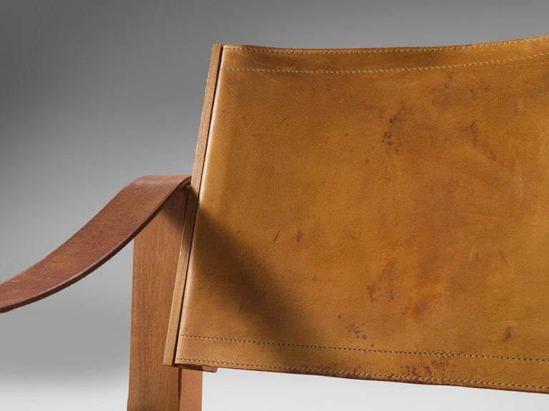 Pierre Chapo Grand Patinated Cognac Leather Elm Chairs S10X, circa 1964 In Good Condition In Waalwijk, NL