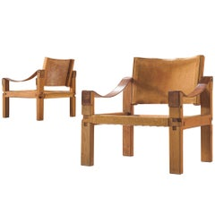 Pierre Chapo Grand Patinated Cognac Leather Elm Chairs S10X, circa 1964