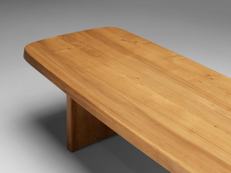 Pierre Chapo Large Dining Table T20B in Solid Elm For Sale 4