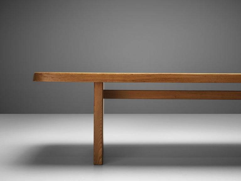 Pierre Chapo Large Dining Table T20B in Solid Elm For Sale 5