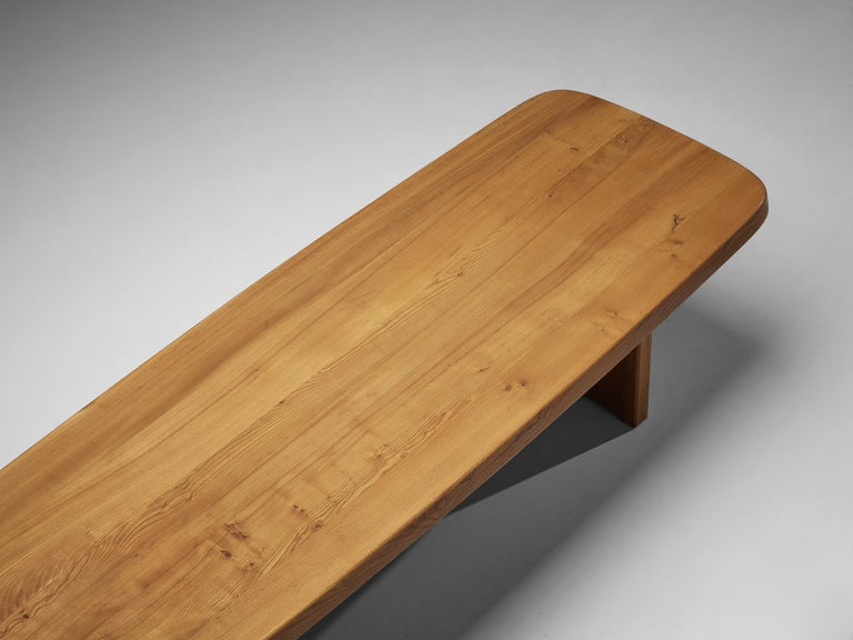 Pierre Chapo Large Dining Table T20B in Solid Elm For Sale 6