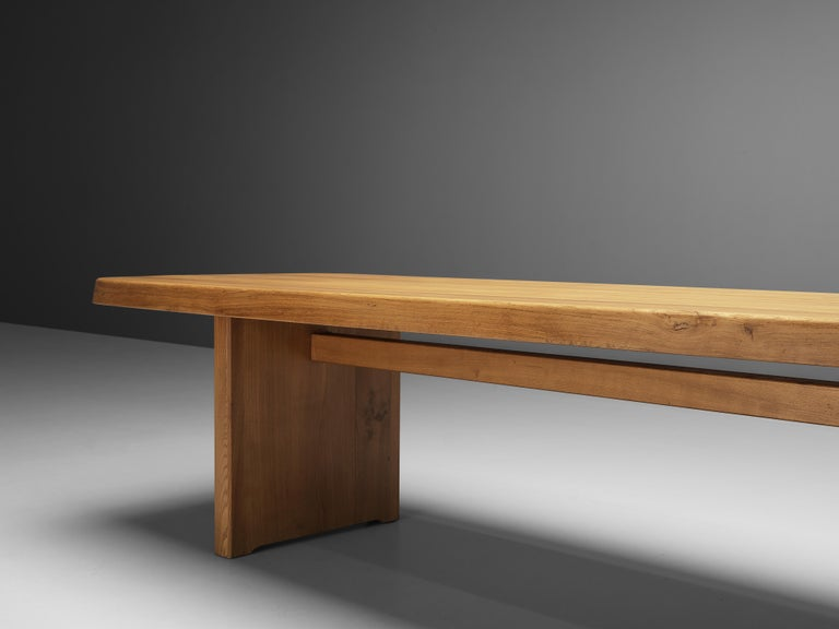 Mid-Century Modern Pierre Chapo Large Dining Table T20B in Solid Elm For Sale