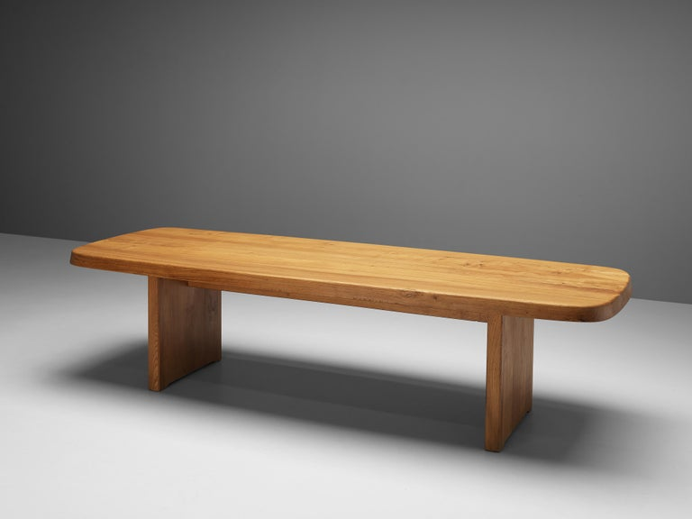 Mid-20th Century Pierre Chapo Large Dining Table T20B in Solid Elm For Sale