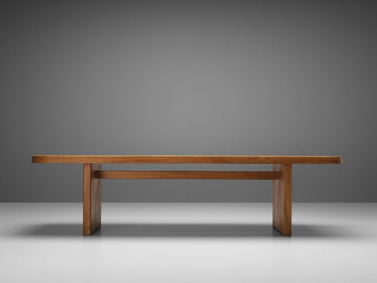 Pierre Chapo Large Dining Table T20B in Solid Elm For Sale 1