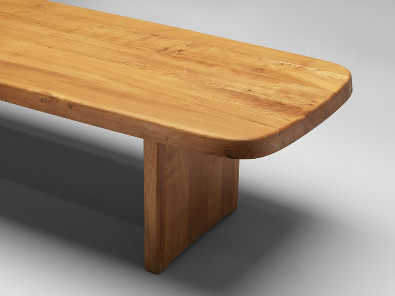 Pierre Chapo Large Dining Table T20B in Solid Elm For Sale 2