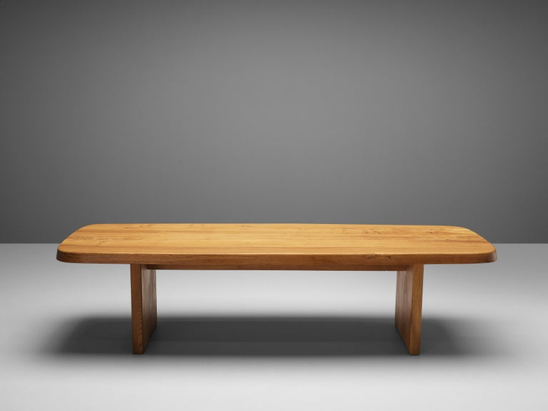 Pierre Chapo Large Dining Table T20B in Solid Elm For Sale 3