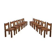 Pierre Chapo Large Set of Twelve S11 Dining Chairs