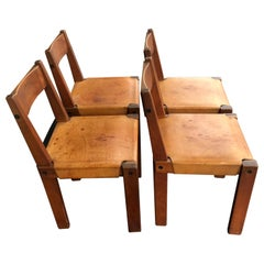 """Pierre Chapo Leather and Elm Chairs """"S24"""", 1974"""
