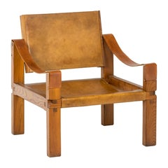 Pierre Chapo, Lounge Armchair in Leather and Elm, 1978