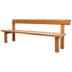 Pierre Chapo Mid-Century Modern Wood Large Bench, circa 1960