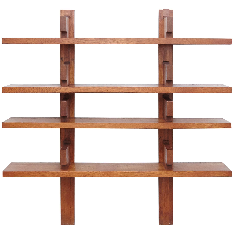 Pierre Chapo Mid Century Modern Wood Wall Mounted Book Shelves Circa 1960