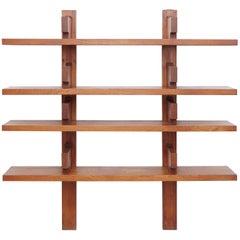 Pierre Chapo Mid Century Modern Wood Wall-Mounted Book Shelves, circa 1960