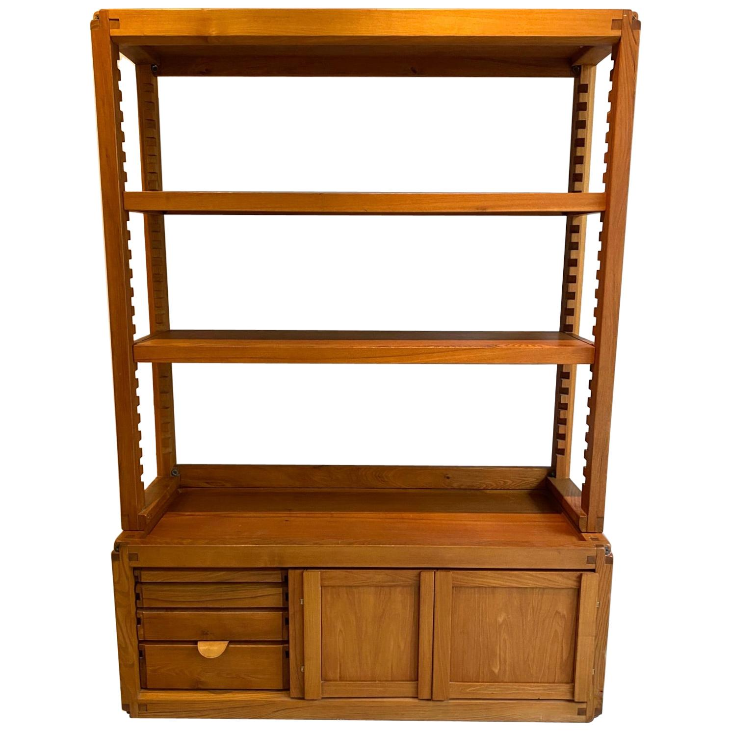 Pierre Chapo Midcentury Solid Elm Library Cabinet