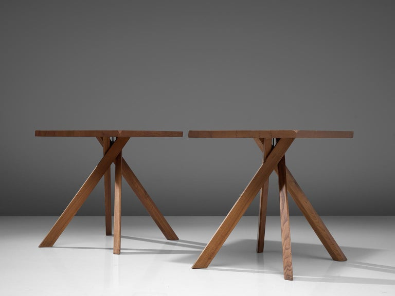 Pierre Chapo, set of 2 centre and kitchen table T27A, elm, France, 1960s.  These small kitchen or dining tables in solid elm by master woodworker Pierre Chapo is named 'Rectangulaire Duo' and is type T27A. The basic design and construction as well