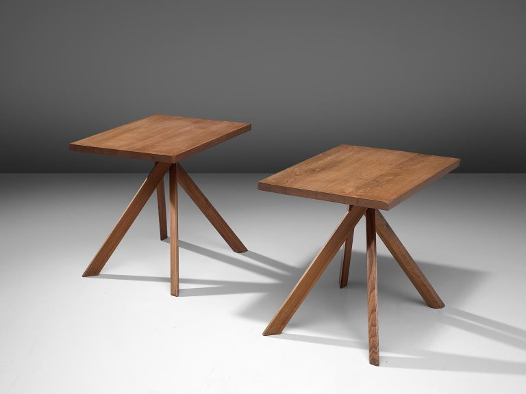 Mid-Century Modern Pierre Chapo Pair of Elm Centre Tables 'Rectangulaire Duo' T27A For Sale
