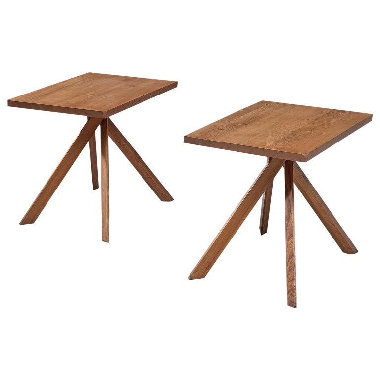 Pierre Chapo Pair of Elm Centre Tables 'Rectangulaire Duo' T27A For Sale