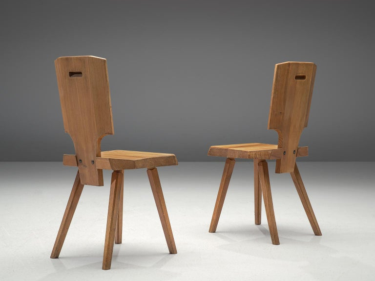 Mid-Century Modern Pierre Chapo Pair of S28 Dining Chairs in Solid Elm For Sale
