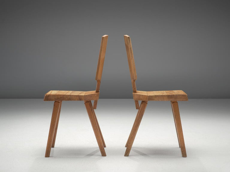French Pierre Chapo Pair of S28 Dining Chairs in Solid Elm For Sale