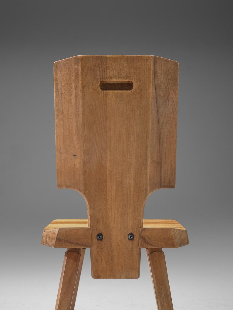 Pierre Chapo Pair of S28 Dining Chairs in Solid Elm In Good Condition For Sale In Waalwijk, NL
