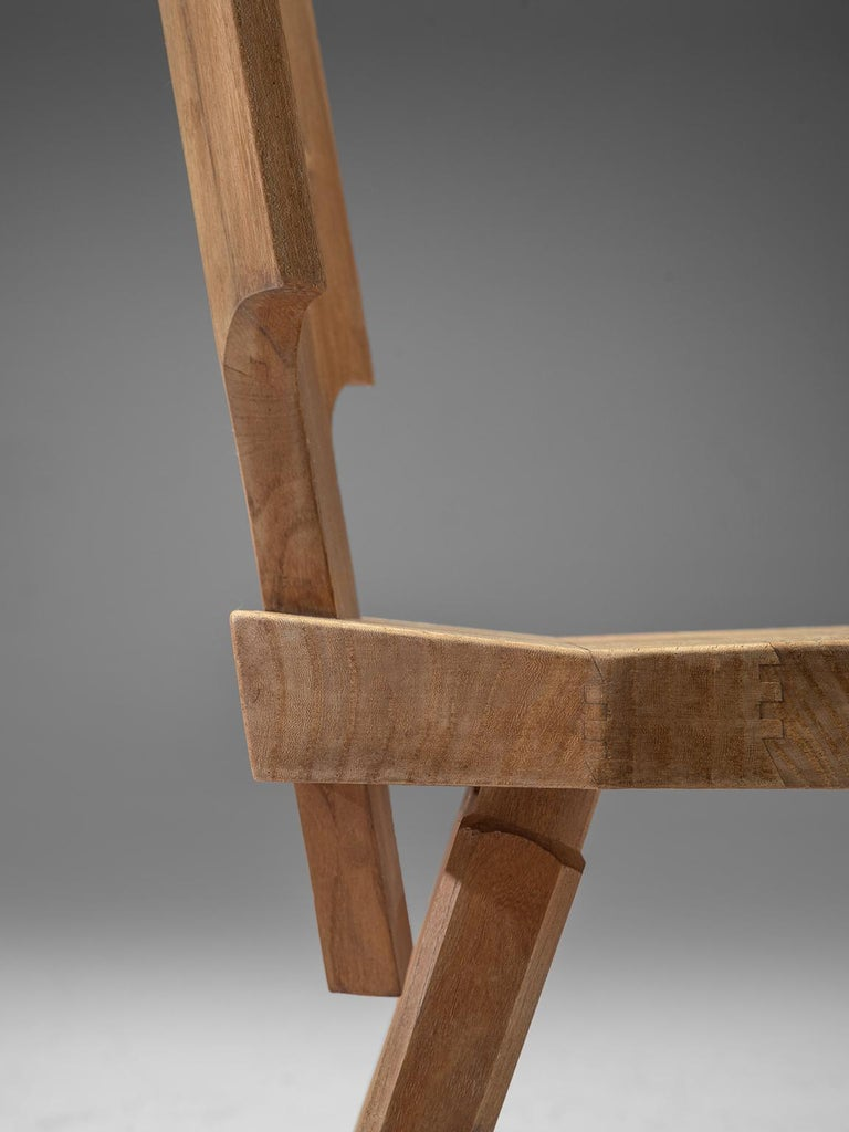 Late 20th Century Pierre Chapo Pair of S28 Dining Chairs in Solid Elm For Sale