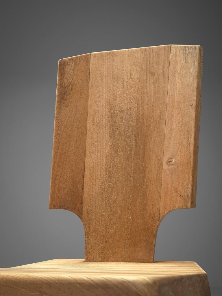 Pierre Chapo Pair of S28 Dining Chairs in Solid Elm For Sale 1