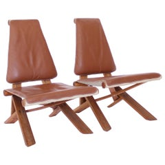 Pierre Chapo Pair of S46 Dromadaire Chlacc and Leather Lounge Chairs