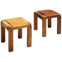 Pierre Chapo Rare Pair of Stools S11X in Elm and Cognac Leather